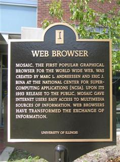 Plaque commemorating the creation of Mosaic web browser by Eric Bina and Marc Andreessen, new NCSA building, University of Illinois at Urbana-Champaign. (Wikimedia Commons)